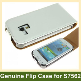 Wholesale s7562 cases - Wholesale Genuine Leather Flip Case With Magnetic Closure for Galaxy Trend Duos S7562 Free Shipping