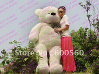 Wholesale Giant Stuffed Bears For Sale - Hot Sales White Giant Plush Stuffed Teddy Bear for birthday gift Free Shipping FT90056 78 INCHES (200cm)