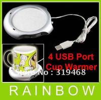 Wholesale Tea Cup Warmer Electric - HOT 50pcs lot 4 Port USB Hub Tea Coffee Beverage Electric Cup Mug Warmer Heater Pad for PC Laptop