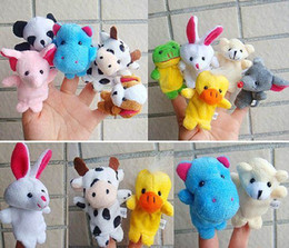 Wholesale Animals Hand Puppets - finger puppets Plush Animal finger doll Christmas gifts dolls 10pcs pack 2packs lot