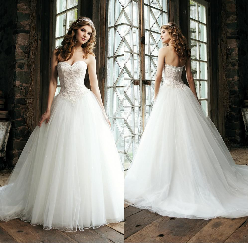 Discount classic style a line tulle wedding dress with for Tulle a line wedding dress