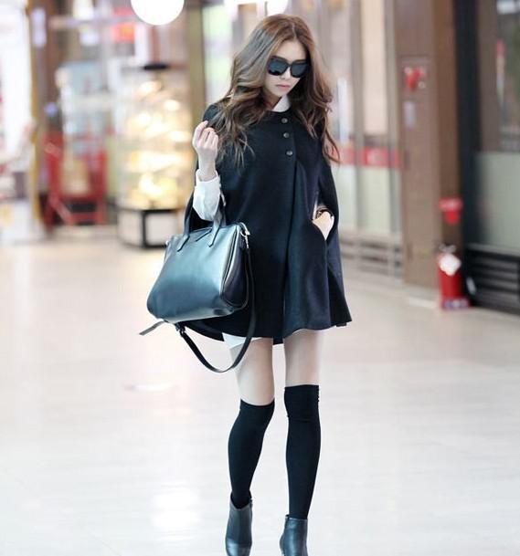 Preto elegante mulheres poncho capa capa batwing hoody casaco casaco jaqueta camisola outwear