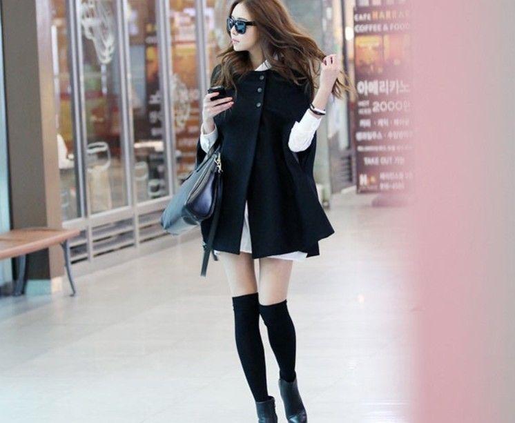 Svart Eleganta Kvinnor Poncho Cloak Cape Batwing Hoodie Hoody Coat Jacket Sweater Outwear