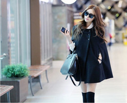 2020 capas pretas elegantes Preto Elegante Mulheres Poncho Capa Cape Batwing Moletom Com Capuz Casaco Jaqueta Camisola Outwear desconto capas pretas elegantes