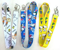 Wholesale Cartoon Holder Strap - Free shipping 50pcs cartoon Snoopy neck Lanyard Cell Phone PDA KEY ID Holder long strap