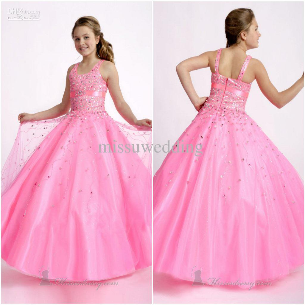 Royal Wedding Dress Pink Flower Girl Dresses Square Ball Gown ...