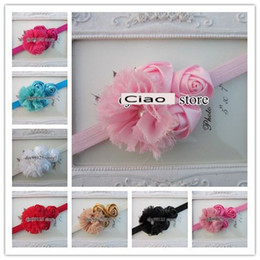 """Wholesale Wholesale Shabby Roses - Baby headbands with 2.5""""Chiffon Shabby Flowers with Triple 4cm rose flowers TOP elastic headbands"""