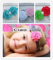 "Wholesale wholesale chiffon frayed flower - Kids Headband with Double 2.5""Shabby Frayed Flowers Rhinestone pearl Button Chiffon lace Flowers"