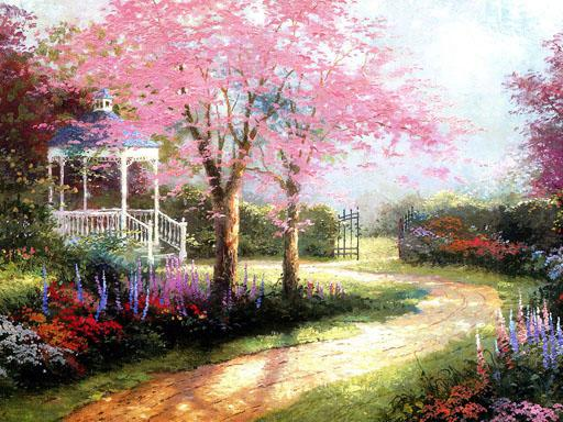 Tomas reproduction trees oil paintings nice landscape art for Garden painting images
