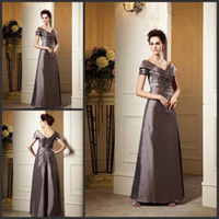 Wholesale Tailored Gowns - Discount Cheap Mothers Dresses Custom-tailor V-neck Short Sleeves Applique Taffeta Fashion Mother Of the Bride Dress Formal Evening Gowns