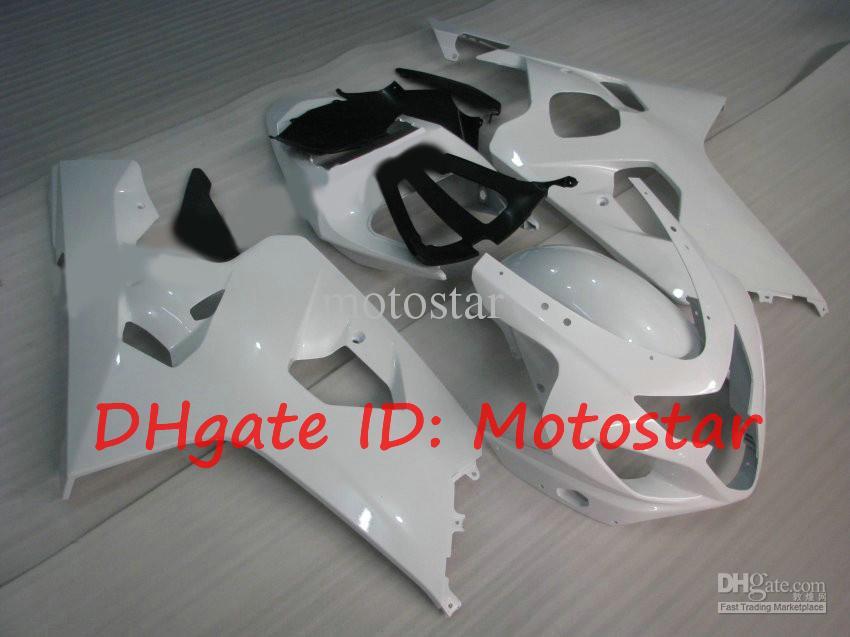 All white DIY fairing kit for SUZUKI 2004 2005 GSXR600 GSXR750 K4 04 05 GSXR 600 750 accept custom