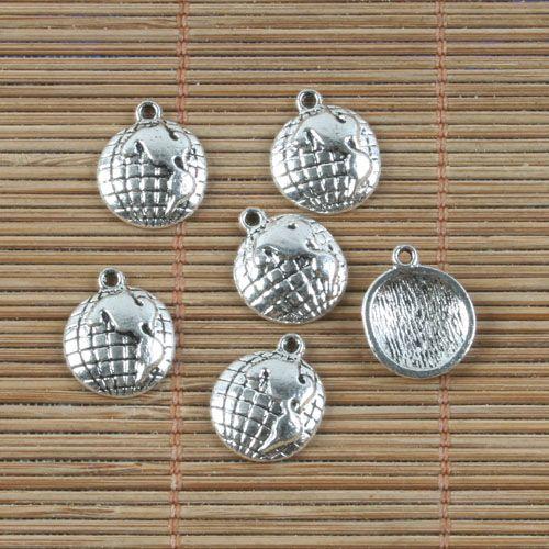 24 adet Tibet gümüş TOPRAK KÜRESEL tasarım kolye H0193