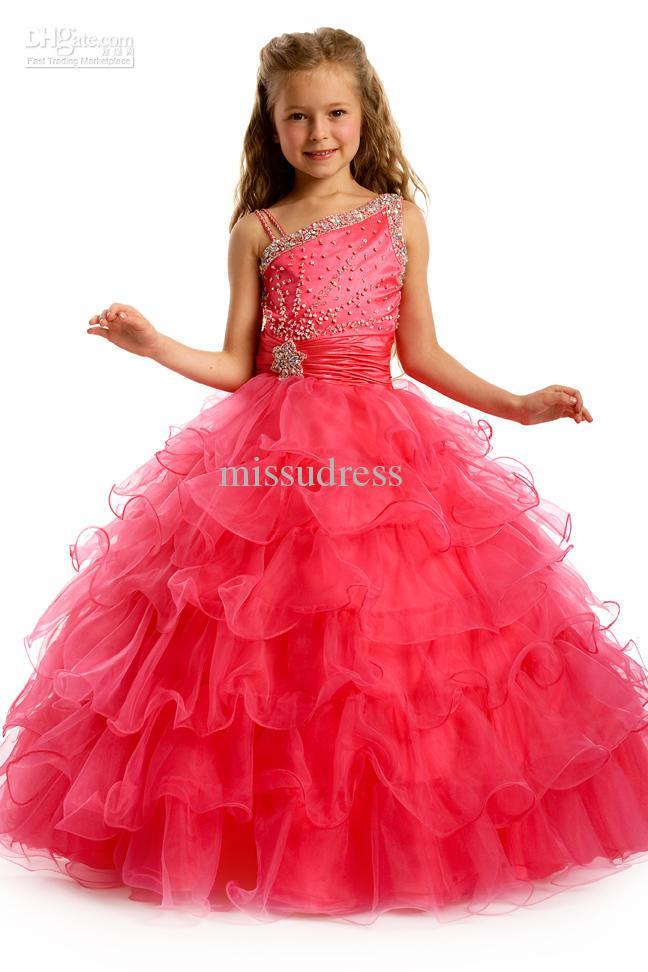 Pageant Dresses For Little Girl One shoulder Beading Tulle Ball Gown Flower Girl Dress Custom Made