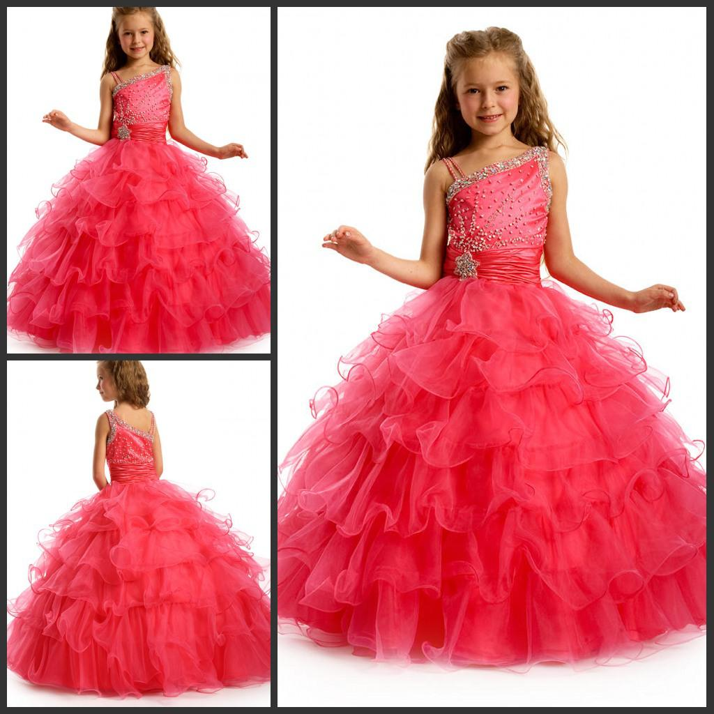 Pageant Dresses For Little Girl One Shoulder Beading Tulle Ball Gown ...