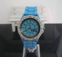 Wholesale Double Diamond Geneva Watches - 2017 New High quality Geneva Diamond Quartz Watches Double Crystal Rhinestones Silicone Strap Watch (14 colors) Promotions Free shipping