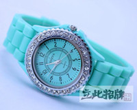 Wholesale Fashion Rubber Crystal Bracelets - Classic Gel Silicone Bracelet Diamond Crystal Lady Geneva Jelly Watch Gifts Stylish For Christmas