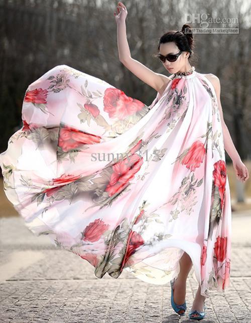 여름 플러스 사이즈 여성 쉬폰 프린트 드레스 레이디 우아한 비치 파티 이브닝 드레스 보헤미안 맥시 롱 드레스 점퍼 스커트