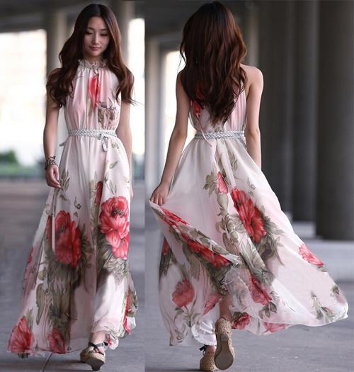 Plus Size Mulheres Floral Imprimir Vest Chiffon Vestido de Senhoras Elegantes Longo Vestidos Maxi Vestidos Maxi Vestido de Praia Com Cinto