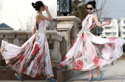Plus storlek kvinnor blommig tryck väst chiffong klänning damer elegant lång aftonklänning maxi klänningar bohemisk strand klänning med bälte