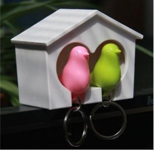 Los pájaros del amor Birdhouse Llavero DUO Sparrow aves clave Anillo Dos pájaros de la novedad de San Valentín decoración del hogar