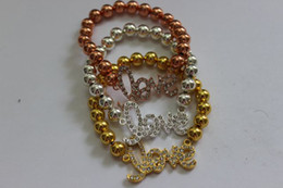 Wholesale Rhinestone Love Sideways Connector - DIY HOT 15pcs 8mm Mixed Plated Copper Beads Rhinestone Crystal Connectors Sideways Love Bracelets