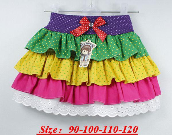 Rainbow Ruffled Skirt TUTU Dress 4-Layer Summer Girl Tu tu Bow Dress Ruffly Skirts 8 pcs/lot1-8T