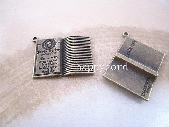 Antique Silver / Antique Bronze Nota Livro Colar Pingente Charme Pulseira Brinco Charme 25mm x 32mm 20 pçs / lote