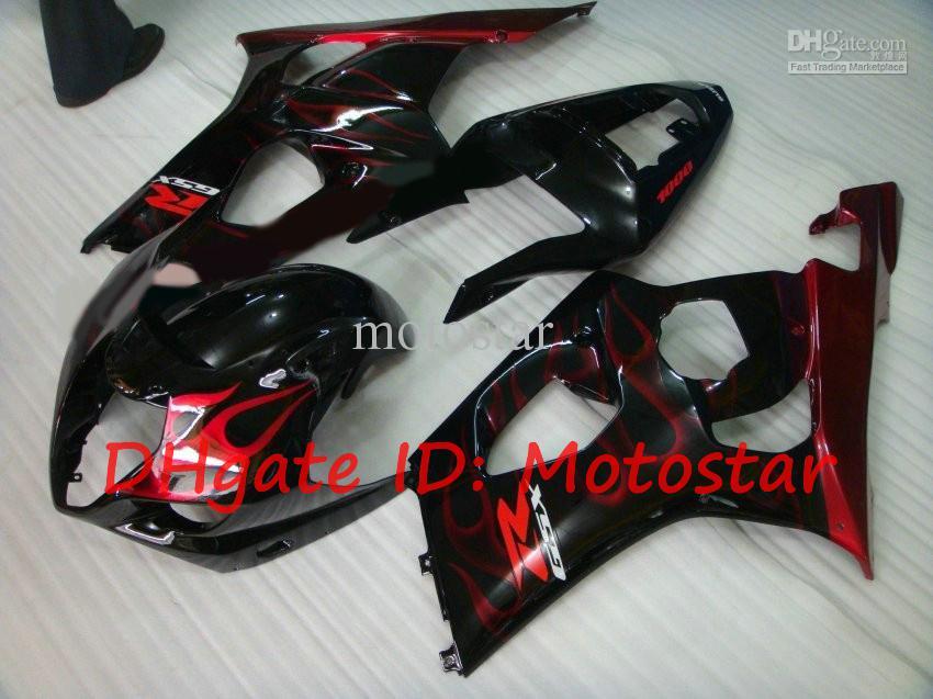 Feedings para 2003 2004 Suzuki GSX-R1000 03 04 GSXR Fairings Kits 1000 K3 GSXR1000 GSXR 1000 Chama Vermelha S13H