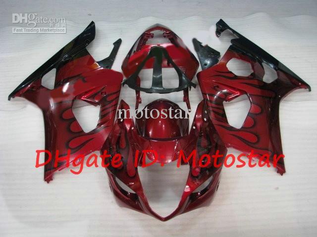 black flame red fairings for 2003 2004 SUZUKI GSX-R1000 03 04 GSXR 1000 K3 GSXR1000 GSX R1000 S13I