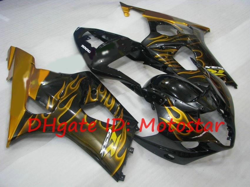 Gloden Flame para 2003 2004 suzuki gsx-r1000 feiras Kits 03 04 GSXR 1000 K3 GSXR1000 GSX R1000 Fairings Kit S13K