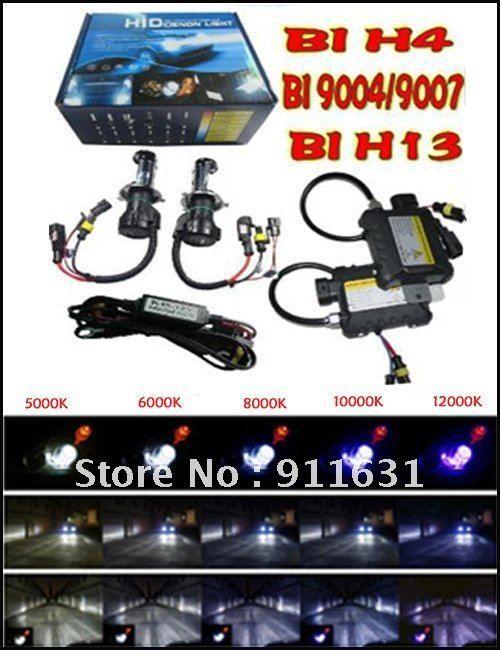 h4 9003 hb2 55w xenón del coche kits ocultos H4 55W 6000K 43000K Kit HID del coche Hi / Lo Haz 4300k 6000k 8000k 12000k 12V DC Lastre delgado