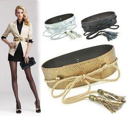 Wholesale Wide Black Corset Belt - womens embellished wide cummerbund serpentine snake no button rope corset belt with tassel in gold
