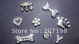 Wholesale Slider Dog Charms - Wholesale - you can mix 10mm rhinestone DIY pet dog collar Slider charms in 7 styles 100pcs lot