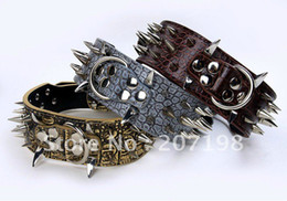 Wholesale Dog Spiked Real Leather - sharp spiked real leather  cowskin, factory direct pit bull dogs Bulldog collar mixed size and color