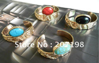 Wholesale Vintage Turquoise Cuff - New Womens Gold Arty Cuff Bangle Bracelet with gemstone  turquoise, Antique Vintage style color mix