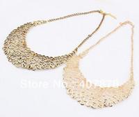 Wholesale Vintage Pearl Collar Necklace - Vintage Style Bronze Golden 2 colors Metal Hollow Out Flower Bib Collar Necklace 12pcs lot