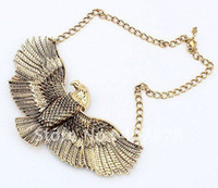Wholesale Eagle Choker Necklace - European Vintage Style Gold Metal Fashion The Eagle Expanded Its Wings Choker Bib Necklace 12pcs lot