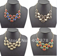 Wholesale Gemstone Resin Statement Choker Necklaces - Drop Flower Resin Gemstone Choker Bib Statement Necklace 5Colors New Charming 4Pieces lot Fashion Cute