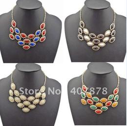 Wholesale Resin Flower Bib Necklace - Drop Flower Resin Gemstone Choker Bib Statement Necklace 5Colors New Charming 4Pieces lot Fashion Cute