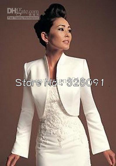 2020 Elegant White Bridal Long Sleeve Bolero Jackets Women Fashion Wedding Satin Wrap Formal Pageant Party Arrival From Newdesign2013 27 05 Dhgate Com
