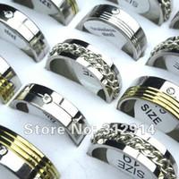 Wholesale Top China Wholesale Fashion Jewelry - wholesale jewelry lots 30pcs TOP Stainless Steel Rhinestone Fashion mix rings