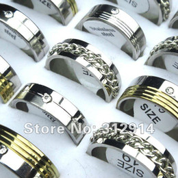 Wholesale wholesale tops china - wholesale jewelry lots 30pcs TOP Stainless Steel Rhinestone Fashion mix rings