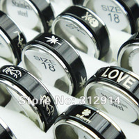 Wholesale Double Layer Ring - Wholesale Jewelry 30pcs Black Double-layer Spin Stainless Steel Rings Mixed Lots