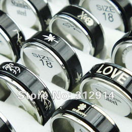 Wholesale Mixed Double Rings - Wholesale Jewelry 30pcs Black Double-layer Spin Stainless Steel Rings Mixed Lots