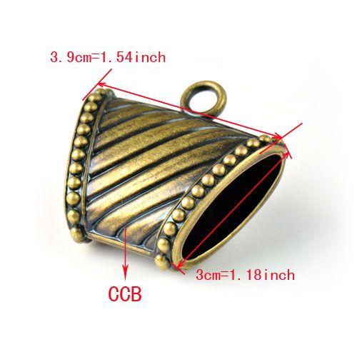 Antik pirinç CCB plastik takı atkılar slayt kolye charms, PT-760