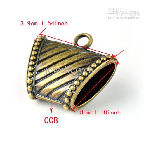 Antiker Messing CCB Plastikschmucksacheschals schieben Anhängercharme, PT-760