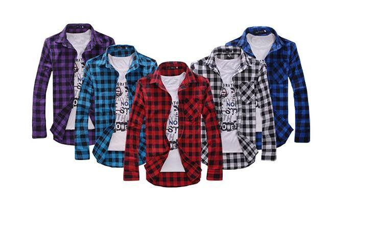 2017 Long Sleeve Plaid Shirts For Men Turn Down Collar Shirt ...