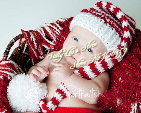 Photographie de bébé lutin Elf Hat pompon Crochet Toddler Noël Beanie chapeau  nourrisson les accessoires bonnet ea63caca7d2