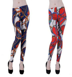 Wholesale Colorful Designed Leggings - Sexy Pattern Print Design Fashion Colorful Women's Stretch Leggings Tights Pants Slim Thin Trousers Feet
