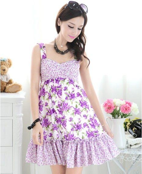 2013 Flower Purple Women Casual Dress Spring Floral Inlay Skirt ...